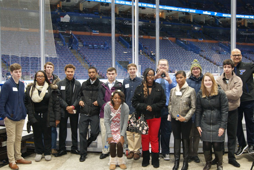 Students with Scottrade Center seats in background